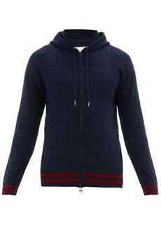 Derek Rose Striped-trim cashmere hooded sweatshirt