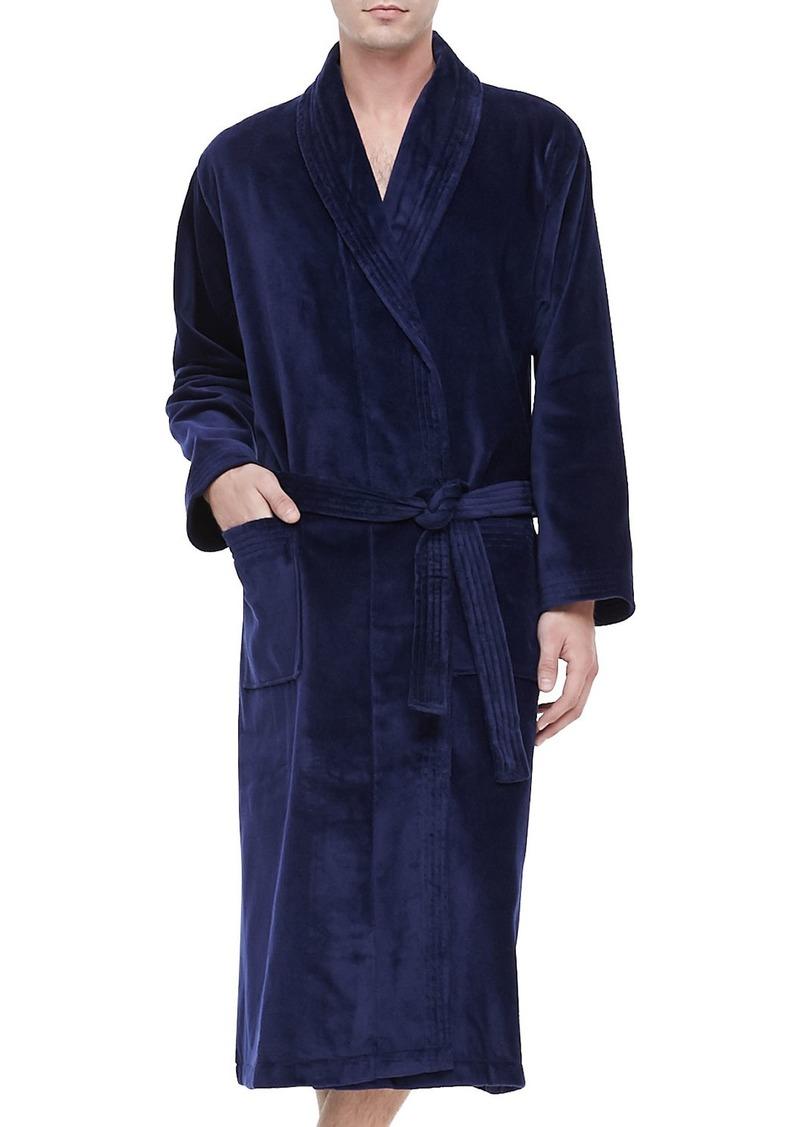 Derek Rose Terry Cloth Robe  Navy