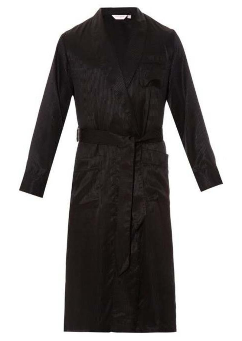 Derek Rose Woburn striped silk-satin bathrobe