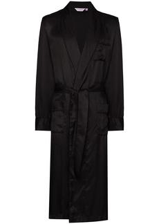 Derek Rose tonal pinstripe silk robe
