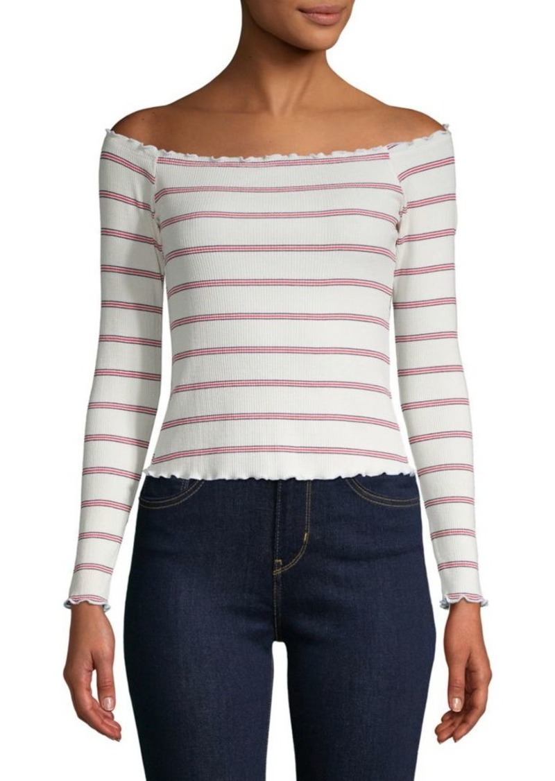Design History Aubry Marie Striped Off-the-Shoulder Top