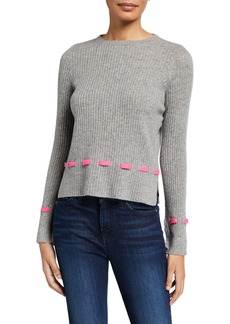 Design History Cashmere Lace Through Ribbed Pullover