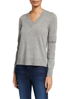 Design History Cashmere Ribbed Sleeve Pullover