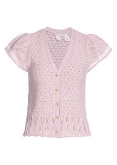 Design History Crochet Short-Sleeve Cardigan