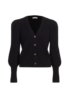 Design History Crop Cashmere Puff-Sleeve Cardigan