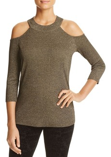 Design History Cold Shoulder Metallic Sweater