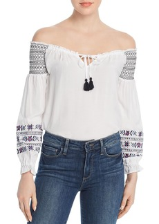 Design History Embroidered Off-the-Shoulder Top