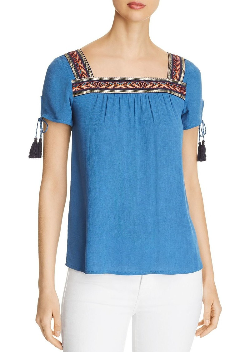 Design History Embroidered Pliss� Top