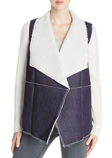 Design History Knit Sleeve Faux Shearling Jacket
