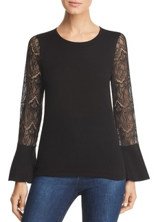 Design History Lace-Sleeve Sweater