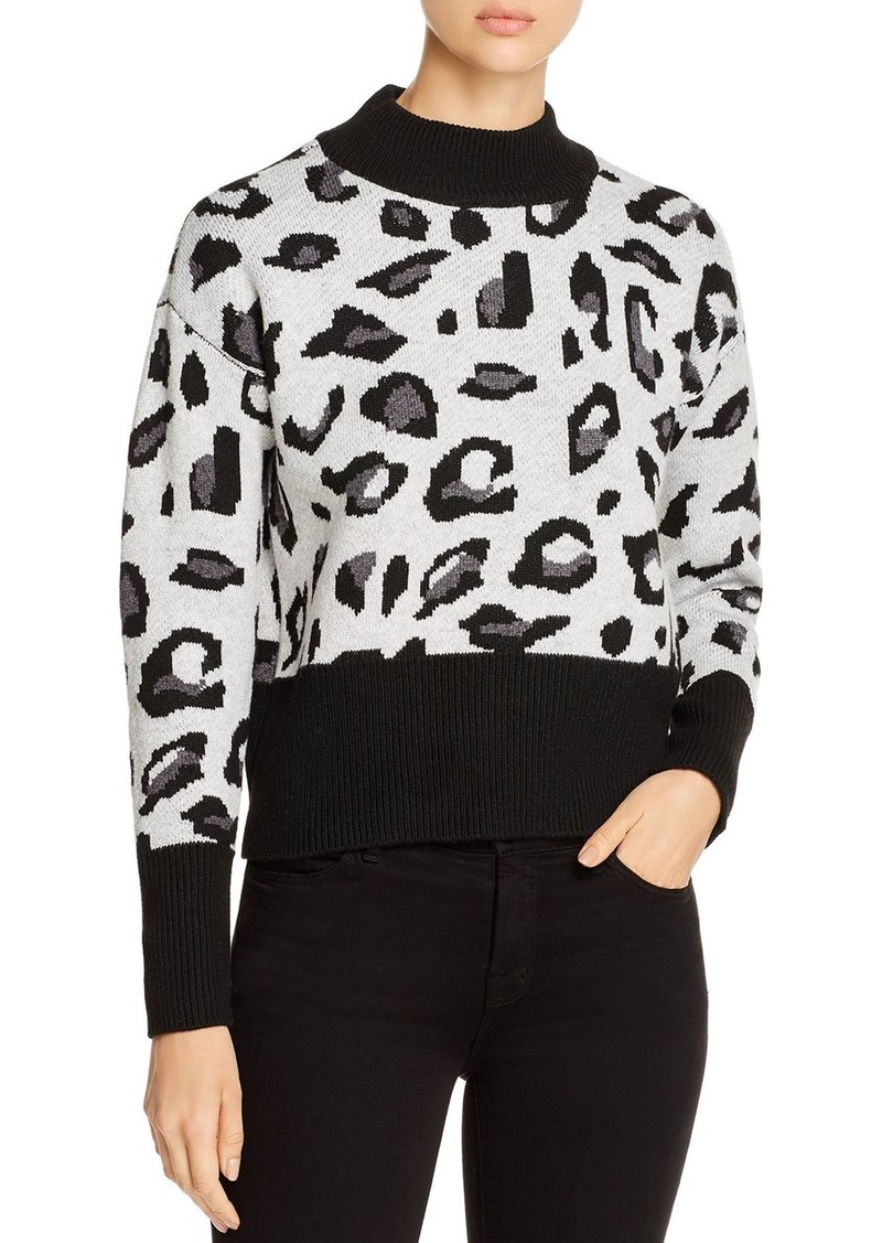 Design History Mock-Neck Leopard Sweater