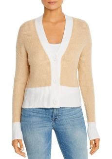 Design History Ribbed & Color-Blocked Cardigan Sweater