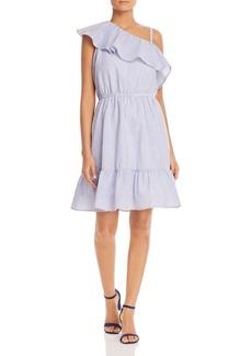 Design History Seersucker One-Shoulder Ruffle Dress