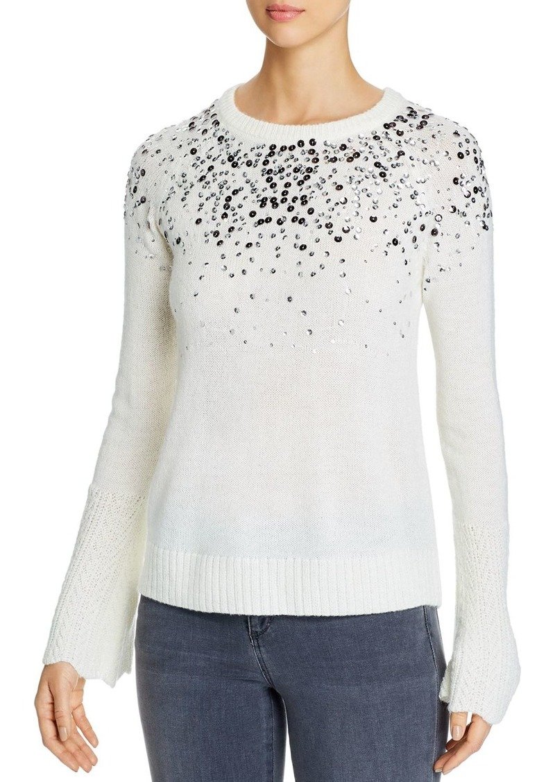 Design History Sequin Scalloped Cuff Sweater