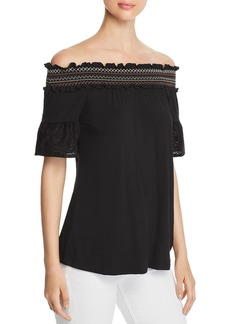 Design History Smocked Off-the-Shoulder Top