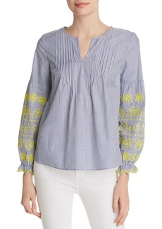 Design History Striped Embroidered Top