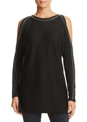 Design History Studded Cold Shoulder Knit Tunic