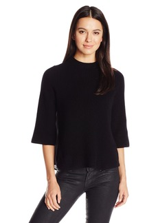Design History Women's Chiffon Back Mock Neck Sweater