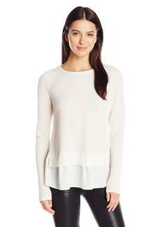 Design History Women's Chiffon Inset Sweater