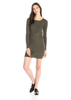 Design History Women's Merino Wool Zipper Detail Sweater Dress