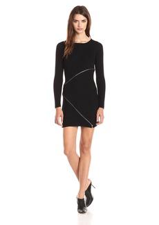 Design History Women's Merino Wool Zipper Detail Sweater Dress