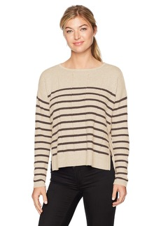 Design History Women's Side Tab Detail and Stripe Sweater  L
