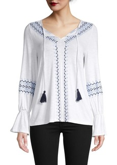 Design History Embroidered Bell-Sleeve Peasant Top