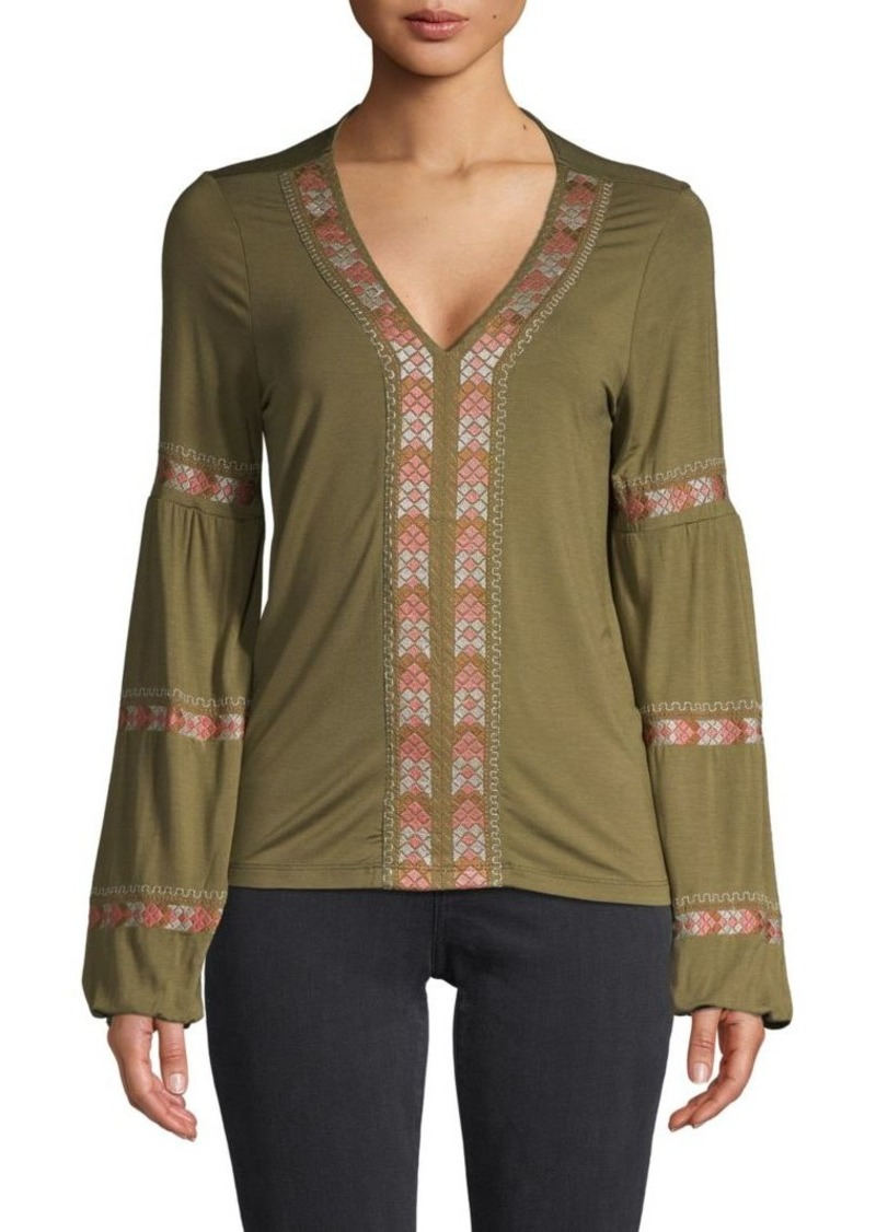 Design History Embroidered Puff-Sleeve Top