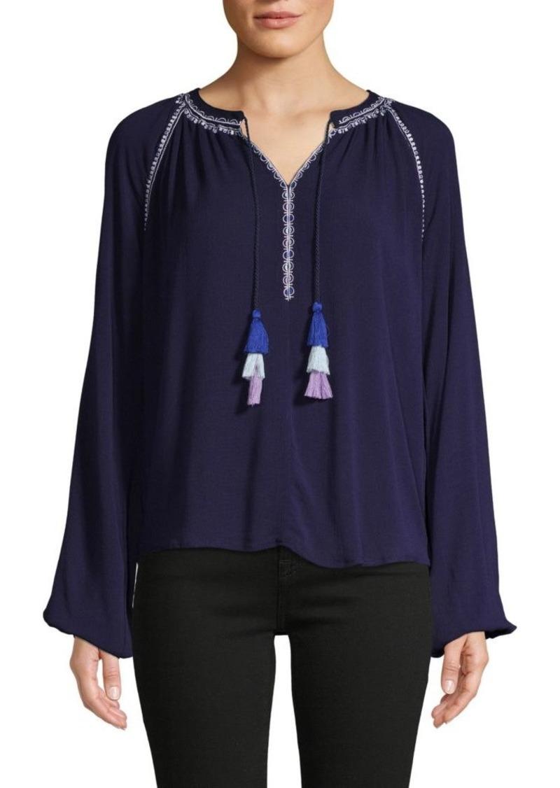 Design History Embroidered Raglan-Sleeve Top