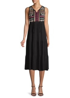Design History Embroidered Tiered Dress