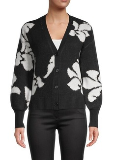 Design History Floral Short Cardigan Sweater