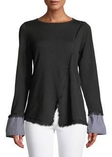 Design History Frayed-Trim Wrap Sweater with Shirting Cuffs