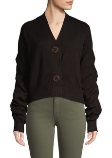 Design History Gathered-Sleeve Button-Front Cardigan