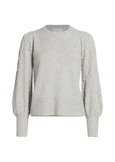 Design History Imitation Pearl Cashmere Combo Sweater
