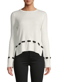 Design History Lace-Trim Ribbed Sweater
