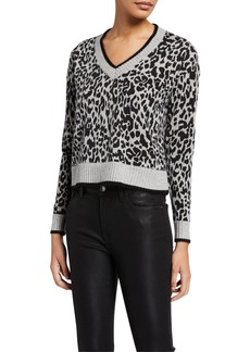 Design History Leopard-Print Cashmere Cropped Pullover