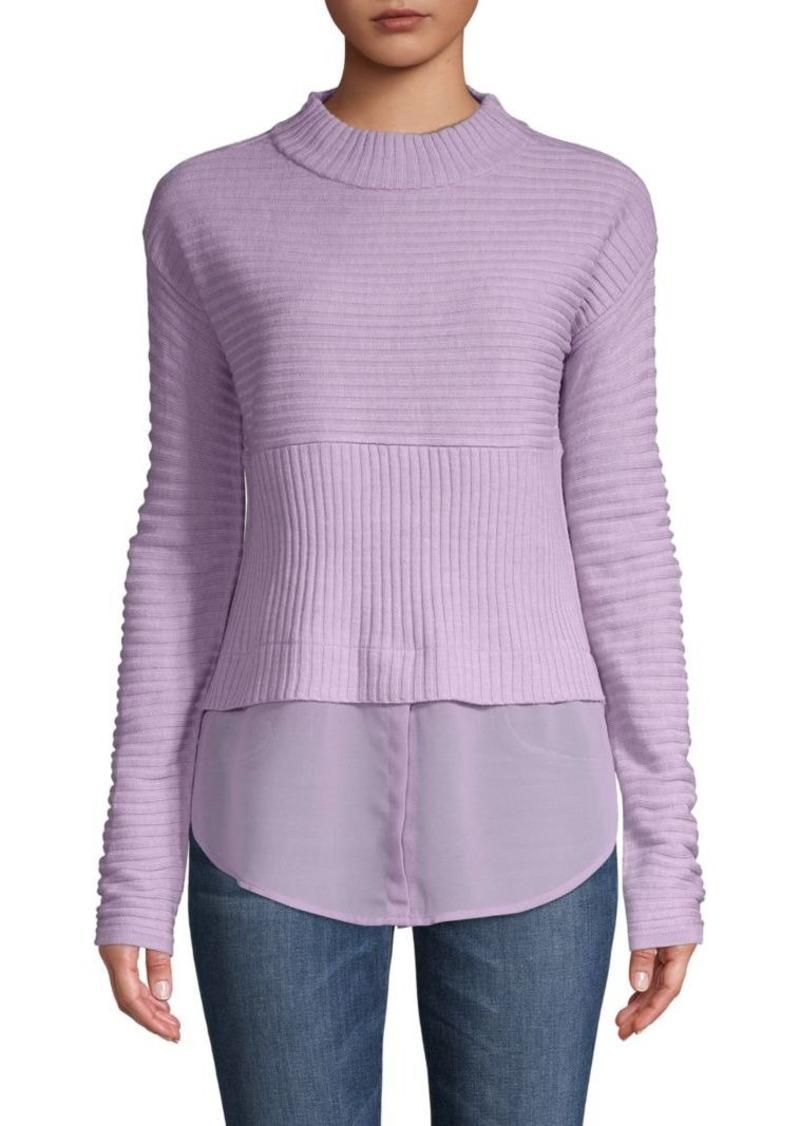 Mockneck Twofer Sweater