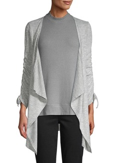 Design History Ruched-Sleeve Open Cardigan