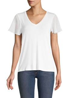Design History Sheer-Sleeve V-Neck Top