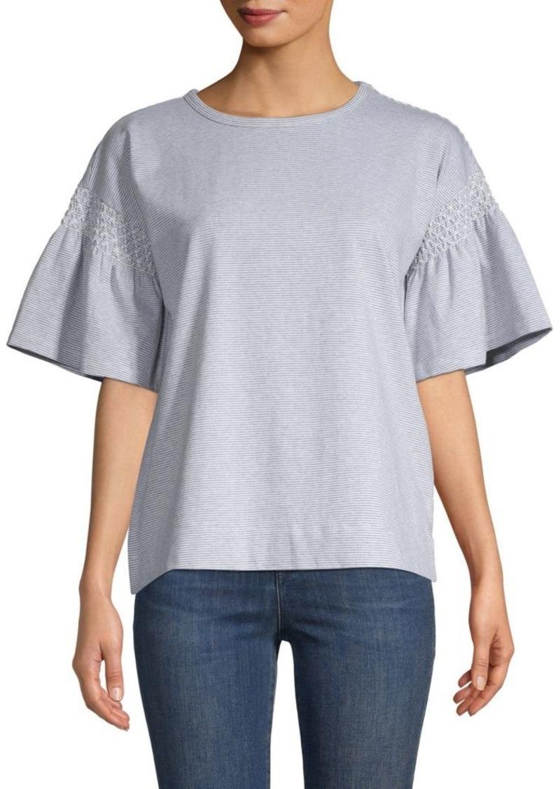 Design History Smocked Cotton-Blend Top