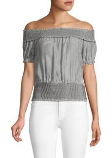 Design History Smocked Cotton Off-The-Shoulder Top