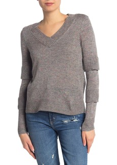 Design History Speckled Ruffle Sleeve Pullover Sweater