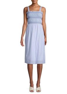 Design History Striped Cotton Smocked Dress
