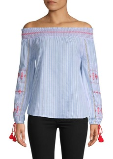 Design History Striped Embroidered Cotton Top