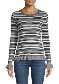 Design History Striped Ruffle-Trim Sweater