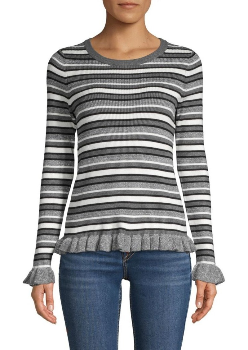 Design History Striped Ruffle-Trim Sweater