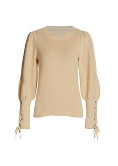 Design History Tie-Cuff Puff-Sleeve Sweater