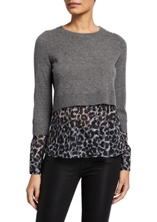 Design History Twofer Cashmere Sweater & Leopard Shirting Pullover