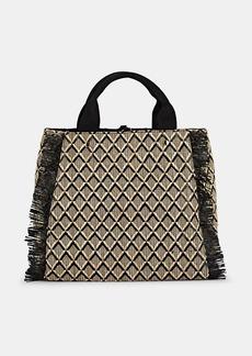 Barneys New York Women's Fringed Straw Tote Bag - Black