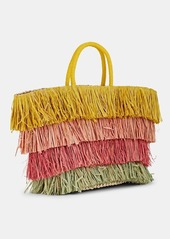 Deux Lux Women's Fringed Straw Tote Bag - Yellow